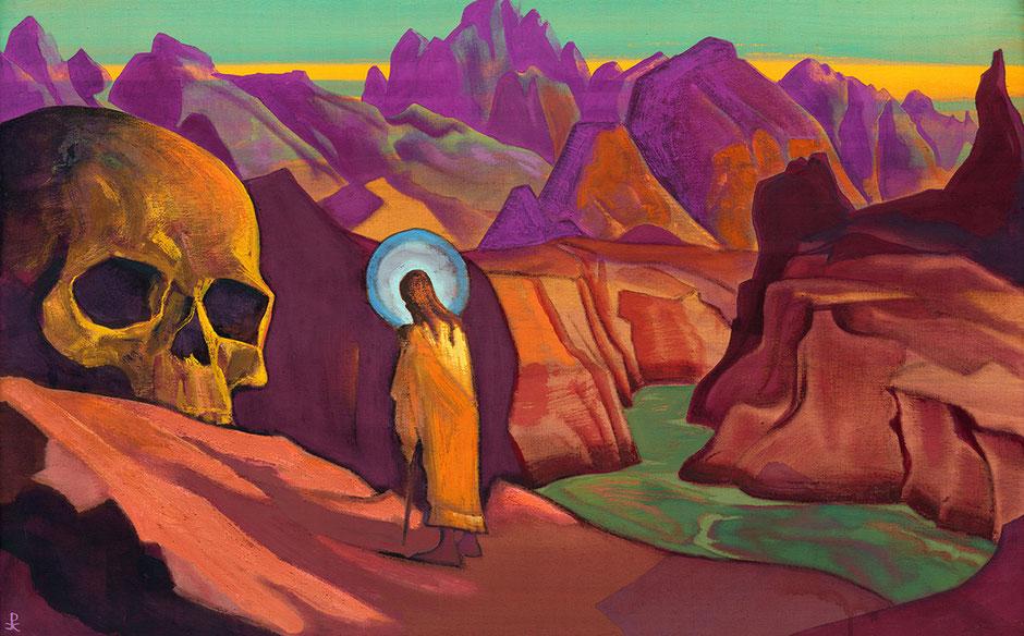 © Nicholas Roerich, pintura cubierta, Issa and the Skull of the Giant of 1932.  La Fundación Roerich entrega permisos para que sus obras representen el mundo de los gigantes desde la cubierta de los libros de esta trilogía.
